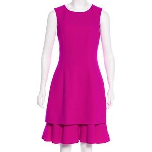 NWT Oscar de la Renta Magenta Wool Dress